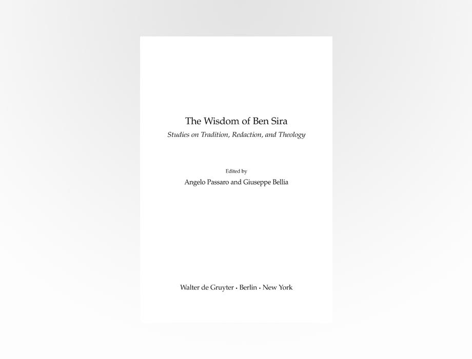 Salvatore Tirrito | Passaro - Bellia, The Wisdom of Ben Sira